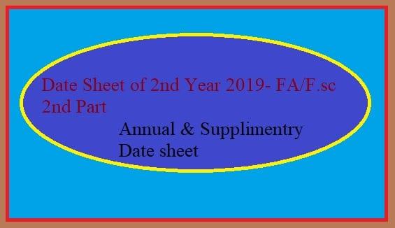date sheet 2019 class 12