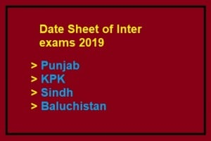 Inter Date Sheet 2019 All Boards Download Online