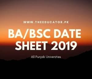ba bsc supplementary date sheet 2019