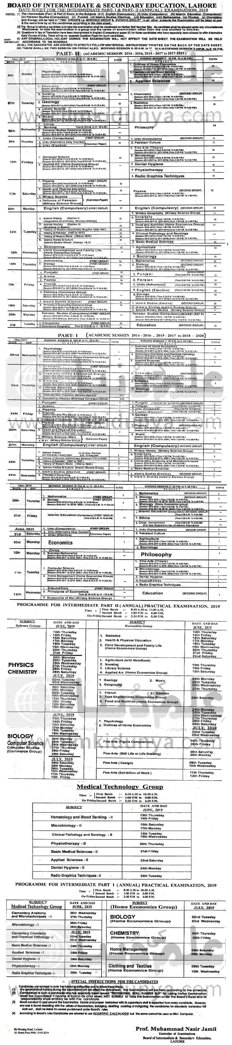 date sheet 2nd year 2019 lahore board