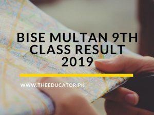 9th class result 2019 BISE Multan