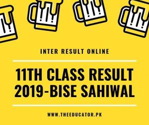 1st year result 2019 bise sahiwal