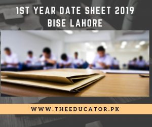 fsc 1st year date sheet bise lahore