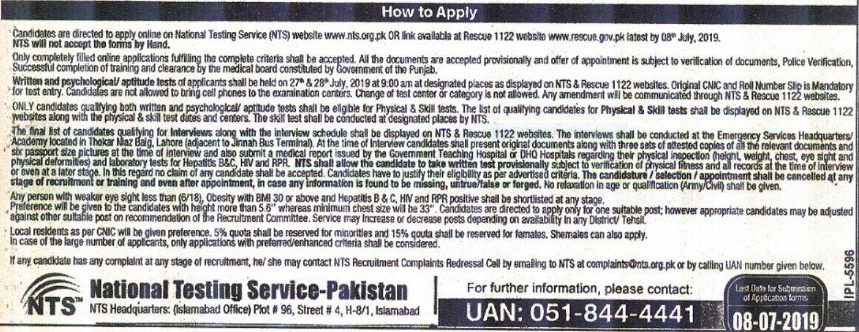 online apply in rescue 1122 jobs