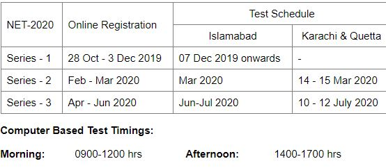 nust admission test schedule