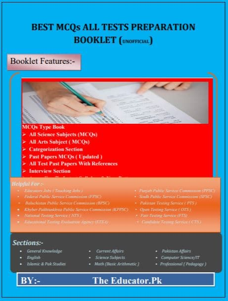 Topper mcqs booklet for all tests preparation